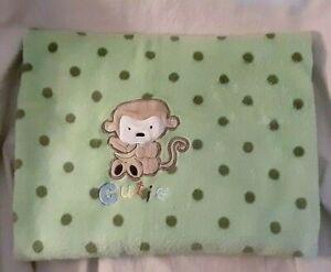Carter's Child of Mine Green Polka Dot Baby Blanket Brown Monkey Cutie Fleece