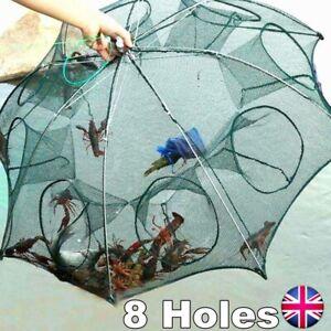 8 Holes Foldable Fishing Net Shrimp Cast Cage Crab Fish Crayfish Prawn Trap UK