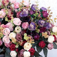 21HEADS ARTIFICIAL SILK FLOWERS ROSE BUNCH Wedding Home Outdoor Bouquet NE8X
