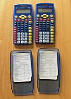 Texas Instruments TI-15 Calculator Blue Clear w/ Covers Parts or Repair Lot of 2