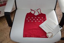 tee shirt lulu  castagnette neuf rouge  avec ronds argentes 4/5 ans