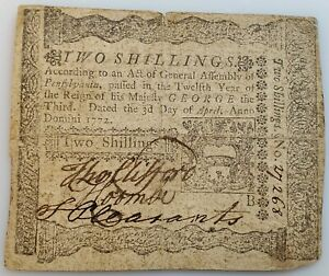 1772 Pennsylvania Two Shillings Colonial Currency Note April 3 4/3/1772 PA-156