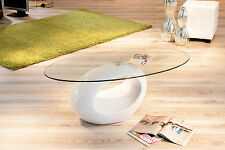 Table basse de salon d´appoint oval design moderne verre securit pied rond BLANC