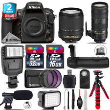 Nikon D810 DSLR + AFS 18-140mm VR + 70-200mm 2.8E VR + LED Kit + Flash + 48GB