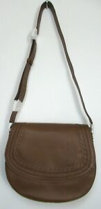 Ex Boden Women's Lingfield Midi Saddle Leather Handbag Tan
