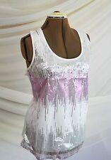 NEW Holiday Bling! LAVISH PLUS Women's Size XXL Sequin TANK TOP Shell White/ Pin