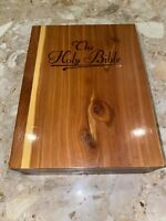 Vintage Cedar Wood Box with White Holy Bible Union Made 7x9x2.5""