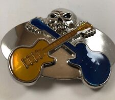 Silver Metal Belt Buckle Guitars and Skull Fashion Men or women Free Shipping