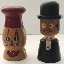 Vintage Wooden Man and Cat Hand Painted Salt & Pepper Shakers Made In Japan