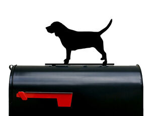 Beagle Dog Silhouette Mailbox Topper / Sign - Powder Coated Steel - Made in USA