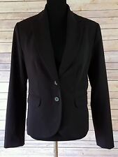 H&M Woman's Two Button Black Blazer Jacket  Size 12 Career Wear To Work Lined