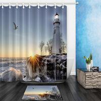The Lighthouse Theme Waterproof Fabric Home Decor Shower Curtain Bathroom Mat