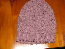 LADIES HAND KNITTED LACE DESIGN BEANIE GRAPE COLOR WITH GLITTER