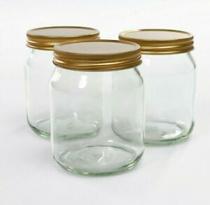 24x Glass Honey Jars 345ml - Screw Neck - Jam Preserve Honey Candles Crafts