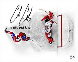 """Cole Caufield Montreal Canadiens Signed 16"""" x 20"""" First NHL Goal Photo & Insc"""