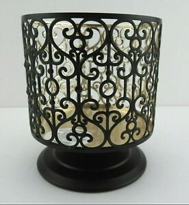 Bath & Body Works Candle Holder Large 3 Wick Metal Black Scroll Hearts Design