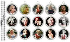 15 Marilyn Monroe Silver Flat Bottle Cap Necklaces Set 1
