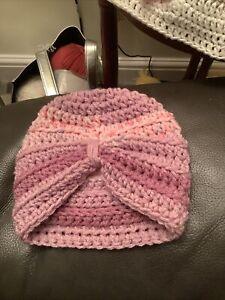 Hand Crochet Newborn Baby Girls Turban Hat