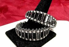 FASHION BLACK BEADED WIRE WRAP AROUND THE ROUND HOOP CRYSTAL STONES EARRINGS