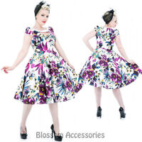 RKH62 Hearts and Roses H&R Pansies Rockabilly Evening Dress Up 50s Retro Plus