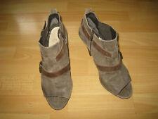 Bottines grises marrons velours à bouts ouverts et talons hauts P 42,5 UK9
