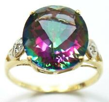NEW 10KT YELLOW GOLD 5.1CT MYSTIC TOPAZ & DIAMOND RING SIZE 7   R1440