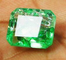 5 CT Natural Beautiful Emerald Cut Colombian Green Emerald Loose Gemstone