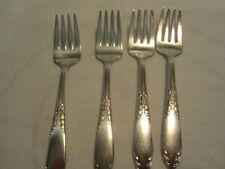 4Vintage National King Edward Dinner Dessert Forks Silverplate  Free Ship USA