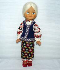 "Vintage Ethnic 17"" Doll White Hair Blue Sleepy Eyes W Costume"