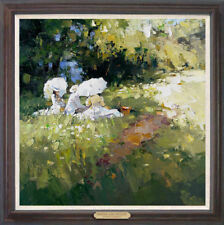 """Hand-painted Original Oil painting art knife girl On Canvas 24""""x24"""""""