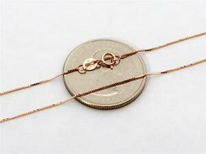 """10K 16"""" Solid Rose Gold Thin Dainty Classic BOX Necklace Chain .5mm 10K Gold"""