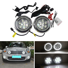 Mini Cooper R55 R56 R58 R60 L&R Brackets Chrome Led Halo Rally DRL Driving Light