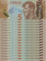 New Zealand - $5 - 16 Consecutive Notes - First Prefix - AA15814650-65