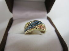 STUNNING ESTATE 14 KT GOLD .50 CTW. VIVID BLUE PINK & YELLOW DIAMOND RING !!!!!