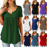 Women Summer Short Sleeve Blouse Solid Plus Size T Shirt Casual Loose Tunic Tops
