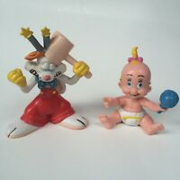2 Roger Rabbit & Baby Herman 1987 Hammer Toy Figure Amblin PVC Figurine Disney