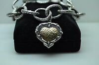 Israel Sterling Silver & 14K Yellow Gold, Heart Charm Bracelet w/ Burning Bush