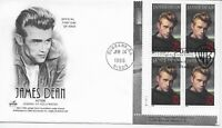US Scott #3082, First Day Cover 6/24/96 Burbank Plate Block James Dean