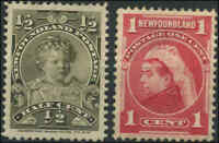 Mint Canada Newfoundland 1897-1901 1/2c & 1c VF Scott #78-#79 (2) Stamps Hinged