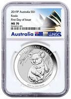 2019 P Australia 1 oz Silver Koala $1 Coin NGC MS70 FDI Exclusive Label SKU56813