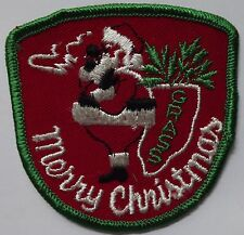 SANTA CLAUS SMOKING CANNABIS Vtg 70`s/80`s Embroidered Patch Funny Humorous