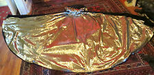 Ooak 50s Gold Embroidered Black Velveteen Cape with Gold Tissue Lame Lining