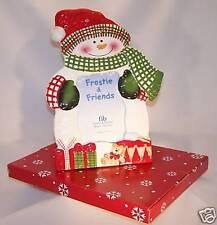 "11"" Ceramic Snowman 3x5 Photo Frame w/ Glass Overlay - New in Gift Box"