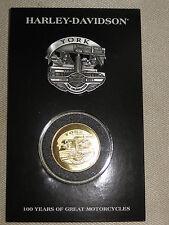 "Harley Davidson 100th Anniversary Pin and Coin Set  ""York""   New on Card - Rare-"