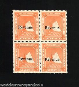 SIKKIM INDIAN STATE INDIA 10 PAISE FISCAL OVER PRINT *REVENUE* STAMP BLOCK OF 4