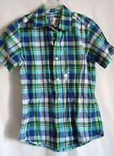 BOYS 14 XL BLUE PLAID S/S BUTTON UP CASUAL DRESS SHIRT NWT THE CHILDREN'S PLACE