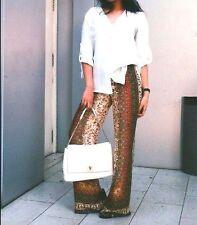 Zara SIZE S WIDE LEG Palazzo printed loose fit pants trousers larghezza Pantaloni MAXI