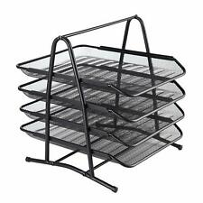 4-Tier Metal Mesh File Rack Organizer Desk Letter Tray Paper Document Holder