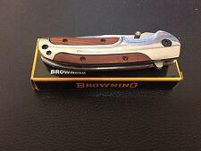 Browning DA43 Folding Titanium Steel Tactical Knife with Rosewood Handle