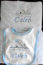 Personalised Rosebud Baby Blanket + Bib Embroiderded Whale Motif Blue Boy Gift